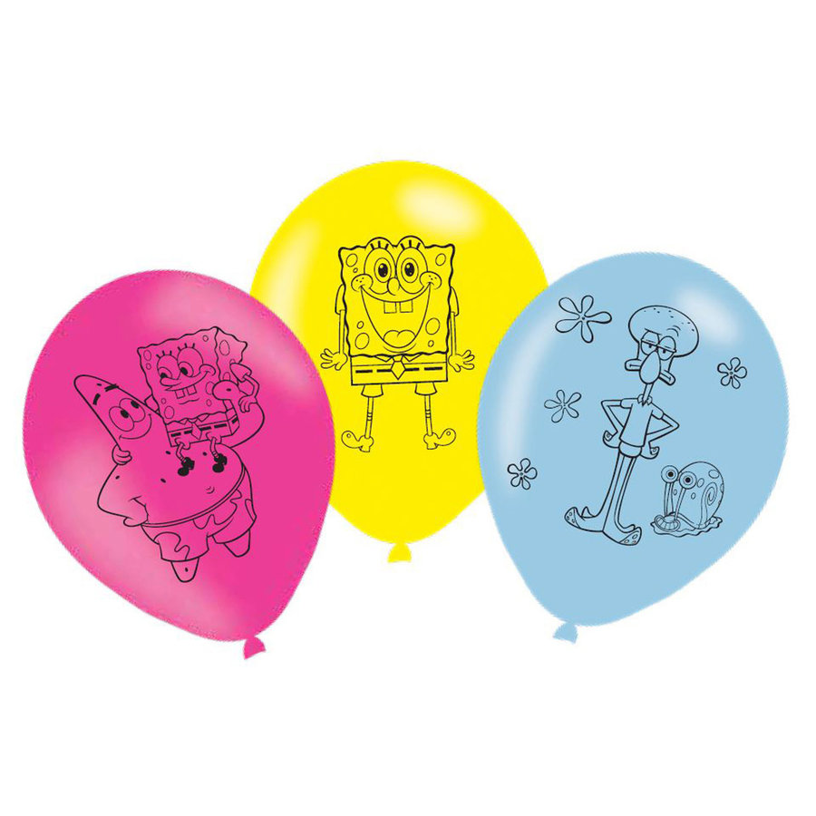 Ballonnen Spongebob en Patrick 6 stuks