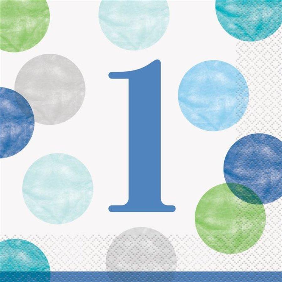 Servetten 1 jaar dots blauw