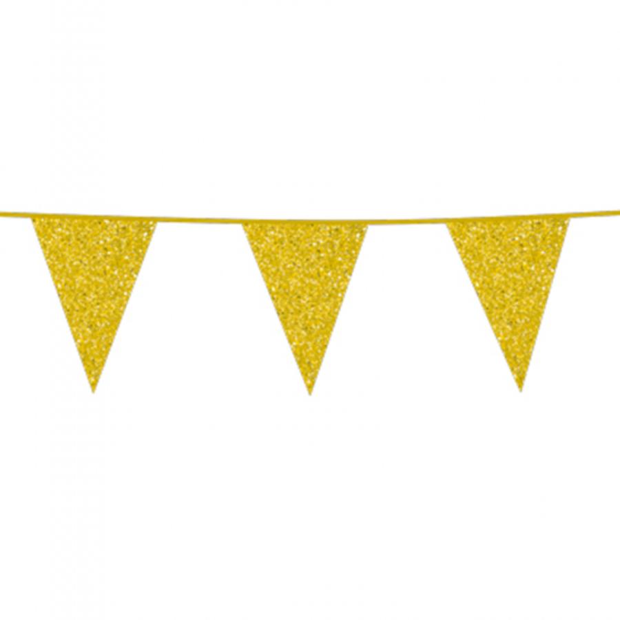 Vlaggenlijn slinger glittergoud 6 meter