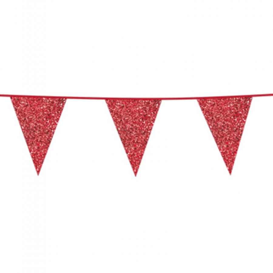 Vlaggenlijn glitter rood 6 meter