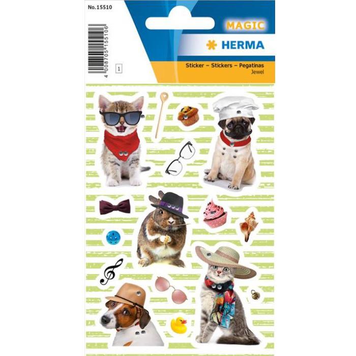 Stickers honden en katten met glittersteentjes