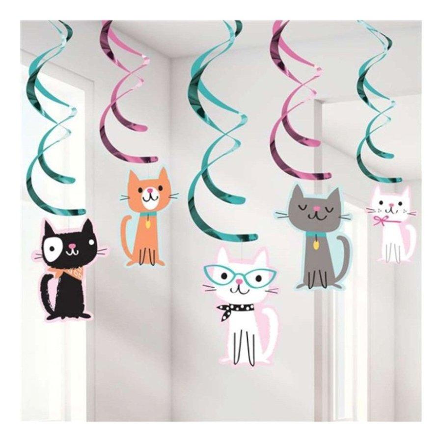 Hangdecoratie Party Cat 5 stuks