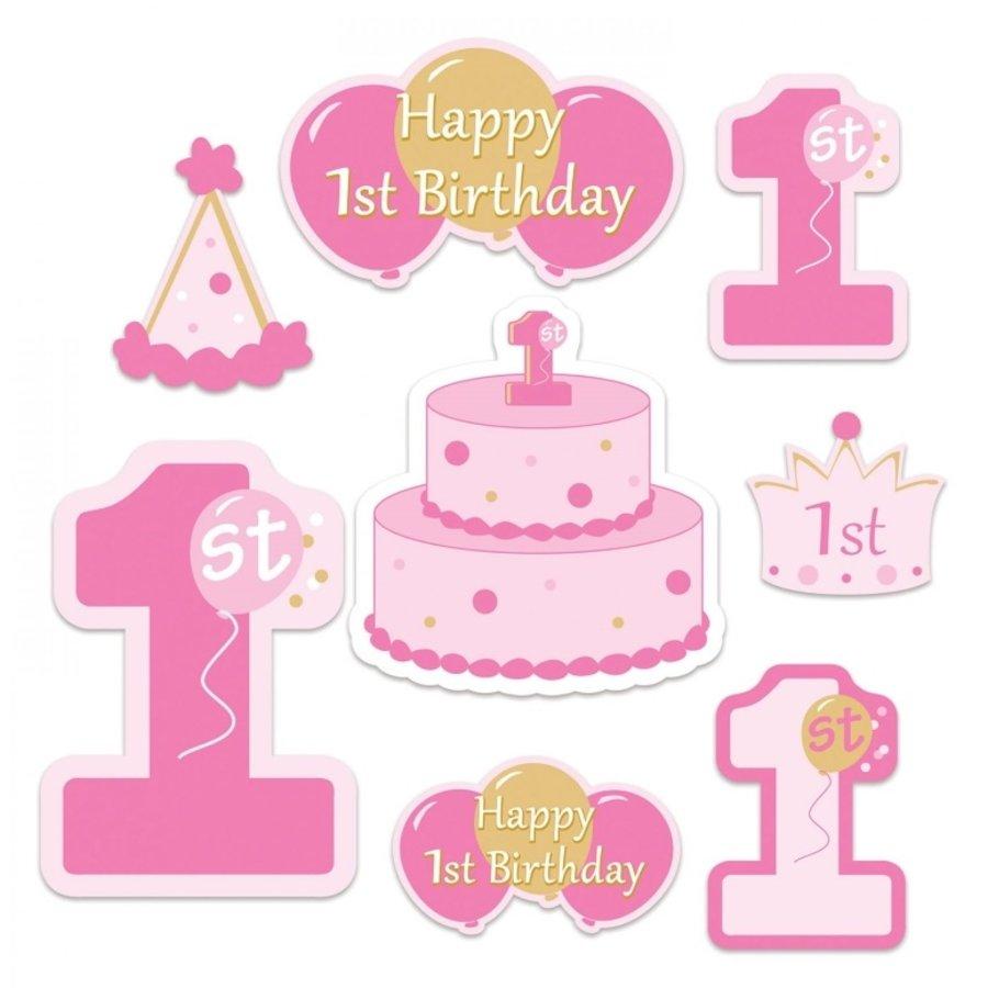 Decoratie 1 jaar Happy Birthday roze 8 stuks