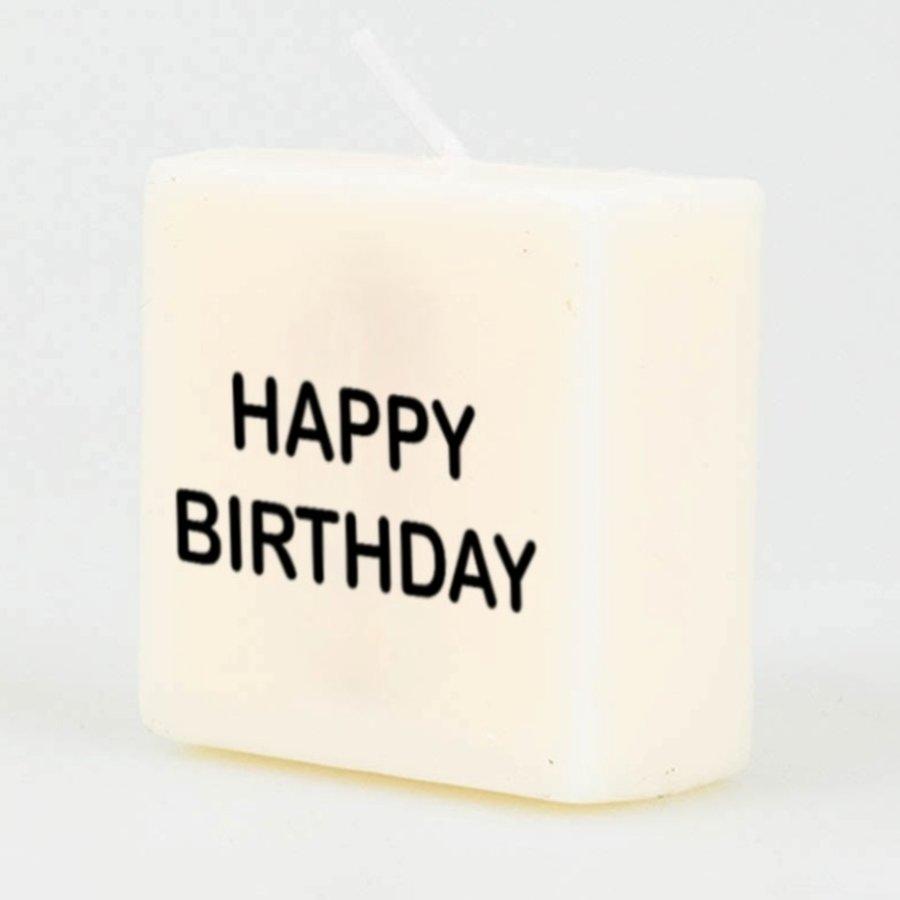 Kaarsjes wit Happy Birthday