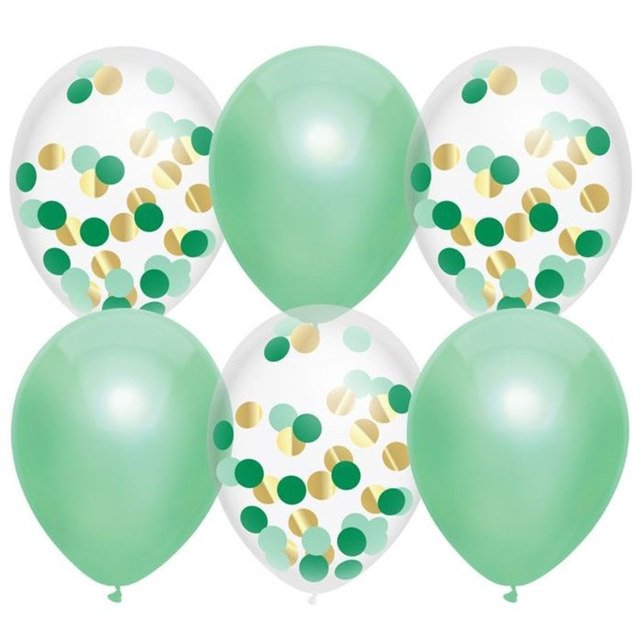 Ballonnen mintgroen en transparant met confetti 6 stuks
