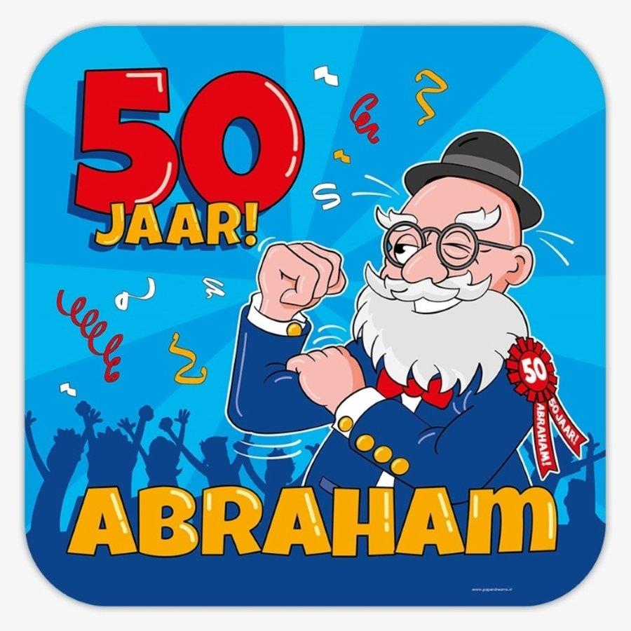 Schild 50 jaar Abraham cartoon groot