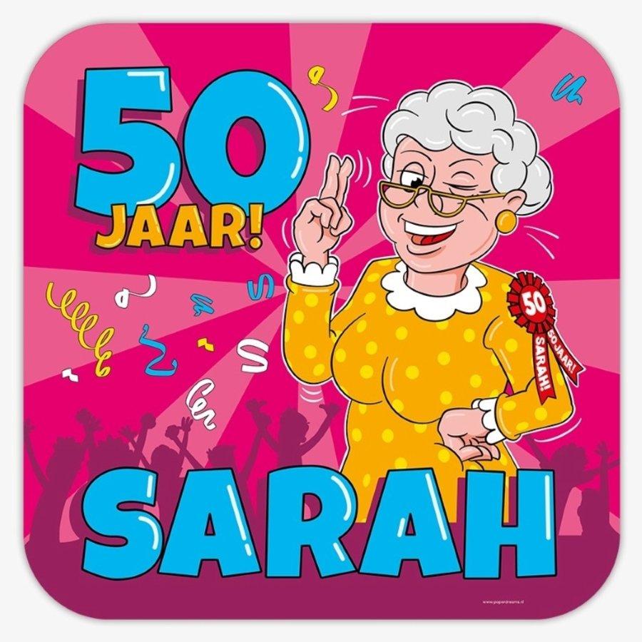 Schild 50 jaar Sarah cartoon groot