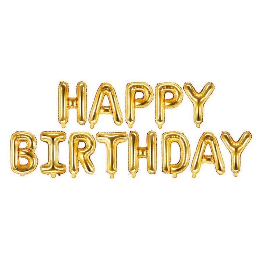Folieballonnen Happy Birthday goudkleurig