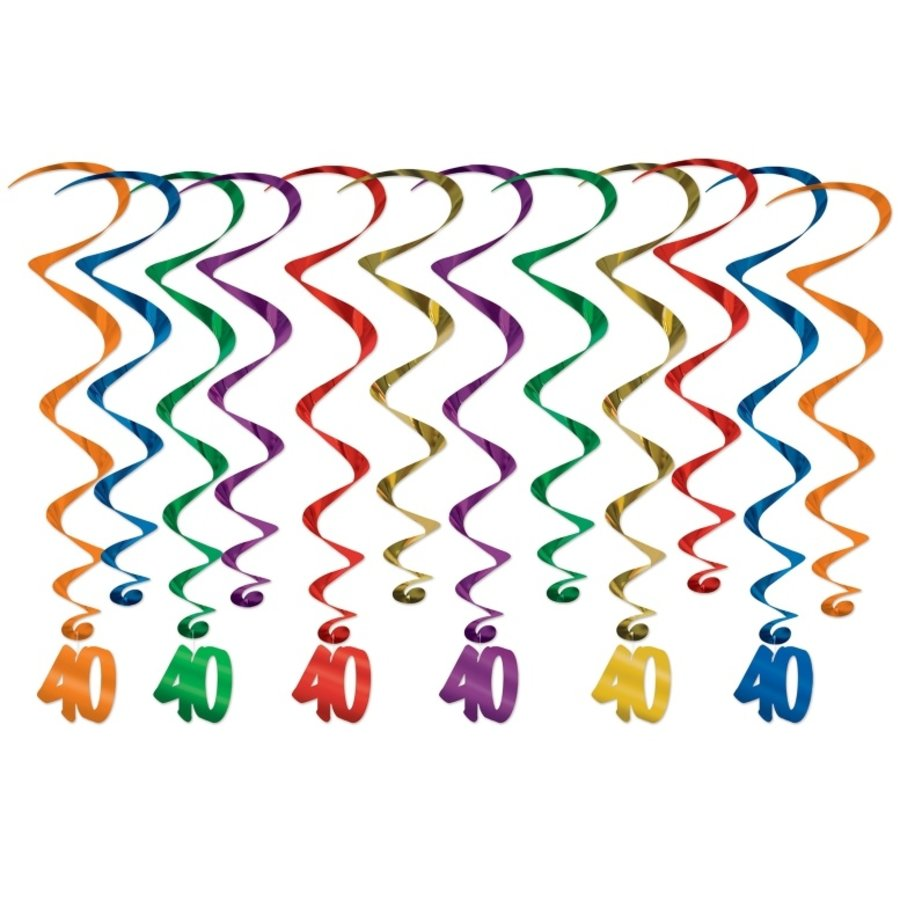 Hangdecoratie 40 jaar Whirls 12 stuks