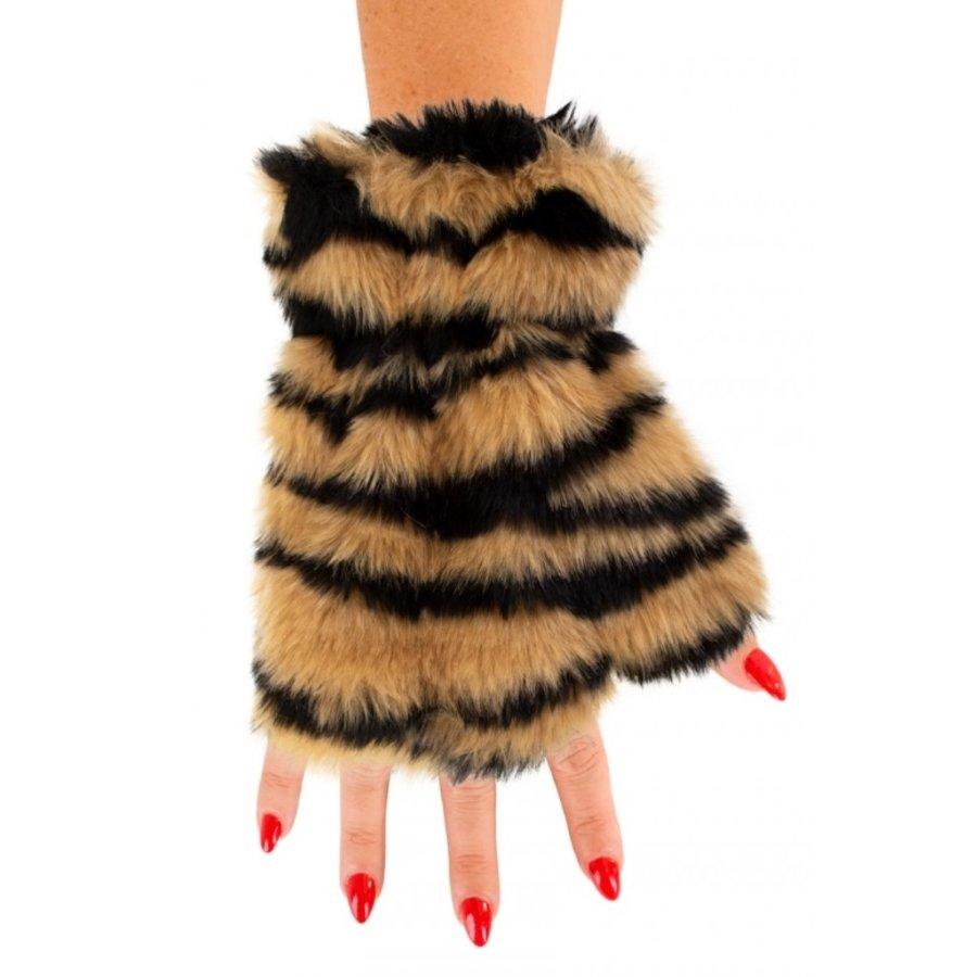Vingerloze handschoenen pluche Tijger