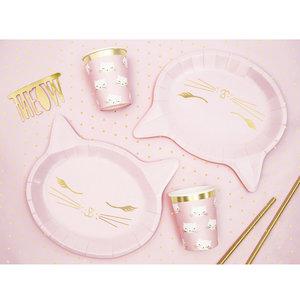 Bordjes roze kat 6 stuks