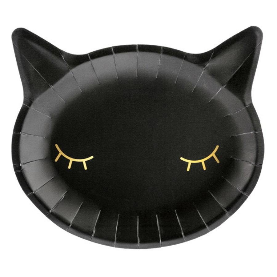 Bordjes zwarte kat 6 stuks