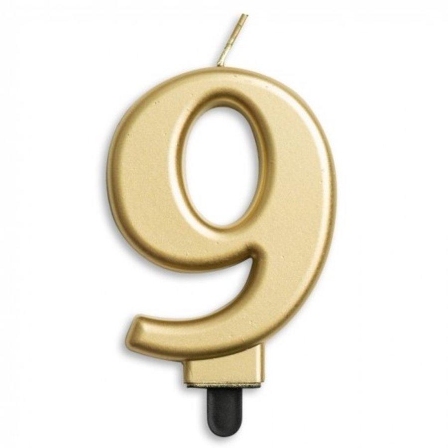 Kaars 9 jaar goudkleurig luxe