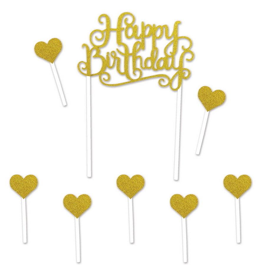 Taartdecoraties Happy Birthday Hearts goudkleurig