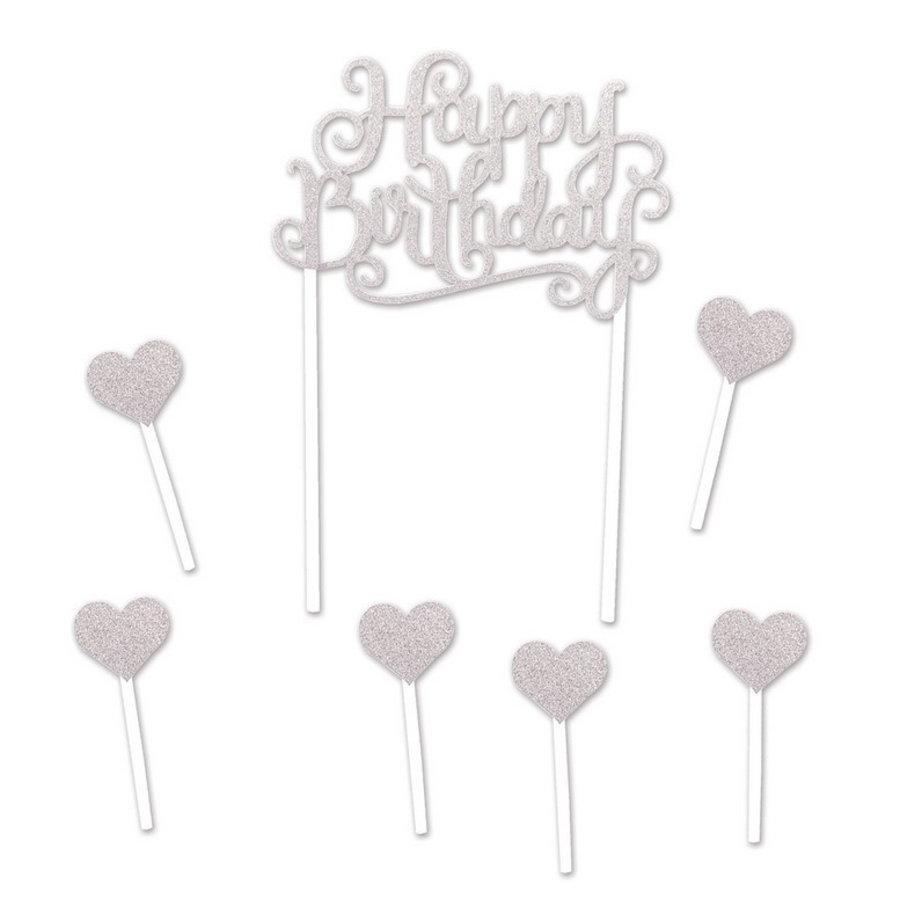 Taartdecoraties Happy Birthday Hearts zilverkleurig