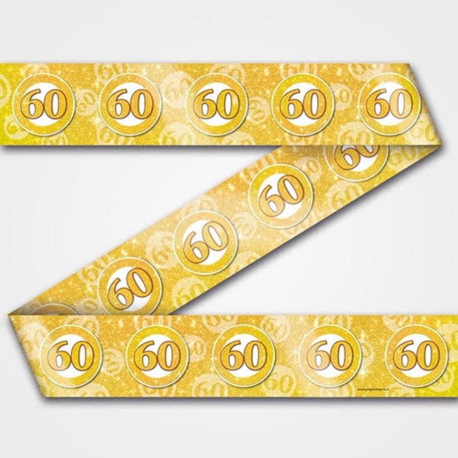 Decoratie lint 60 jaar goud wit