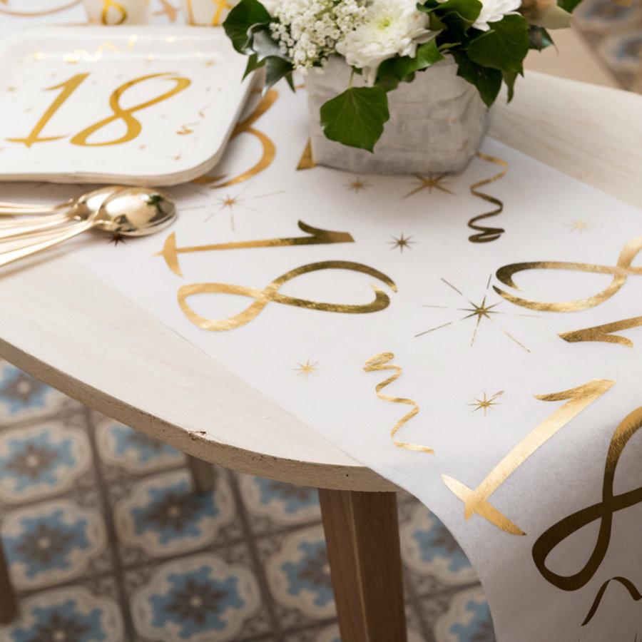 Tafelloper 20 jaar goud wit stof 5 meter