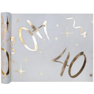 Tafelloper 40 jaar goud wit stof 5 meter