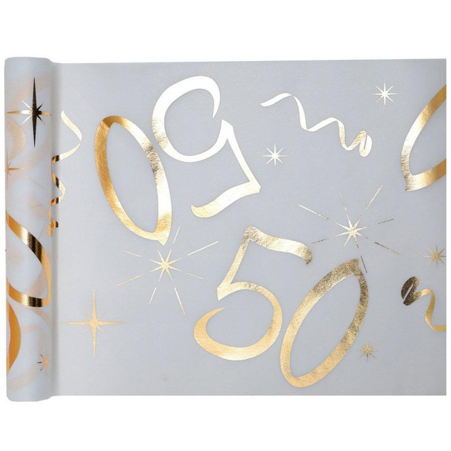 Tafelloper 50 jaar goud wit stof 5 meter