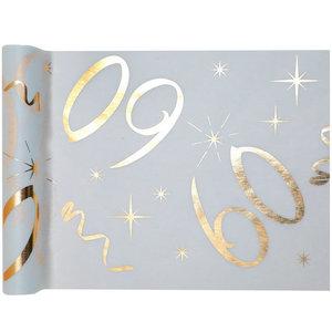 Tafelloper 60 jaar goud wit stof 5 meter
