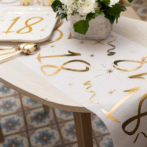 Tafelloper 80 jaar goud wit stof 5 meter