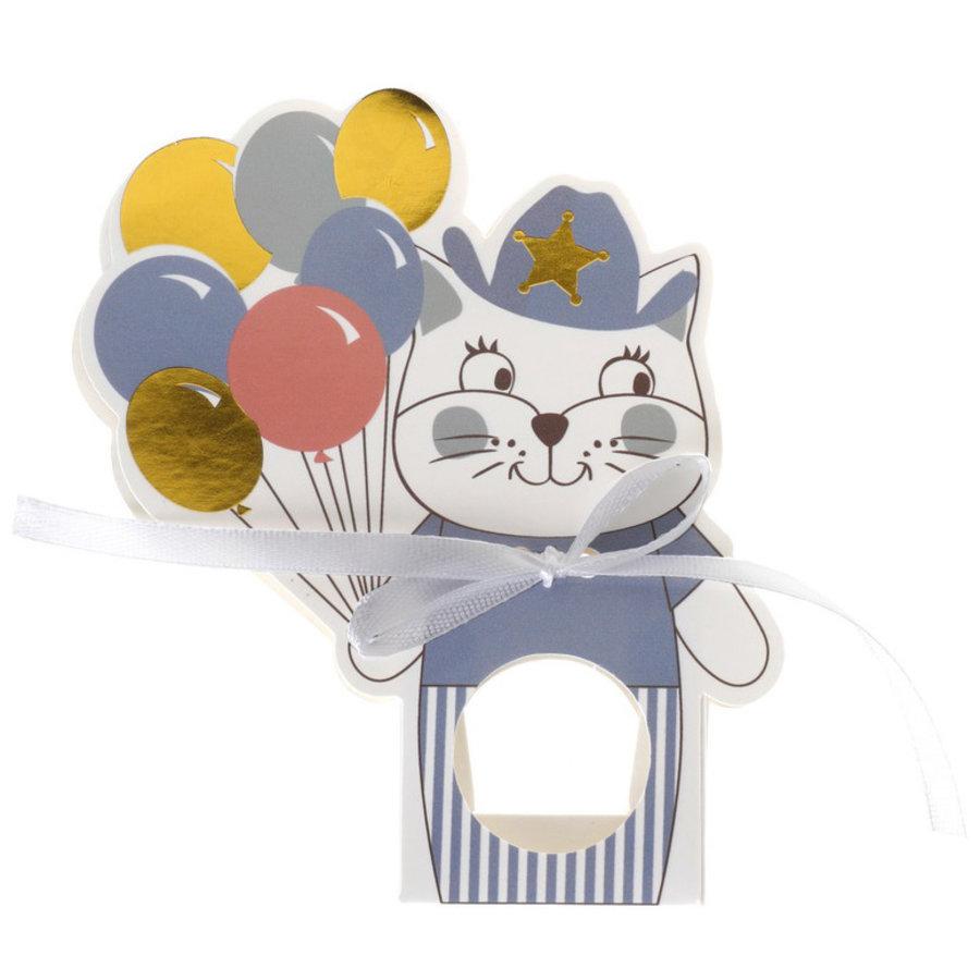 Feestzakjes kat met ballonnen blauw 6 stuks