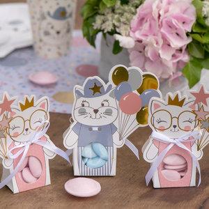 Feestzakjes kat met ballonnen roze 6 stuks