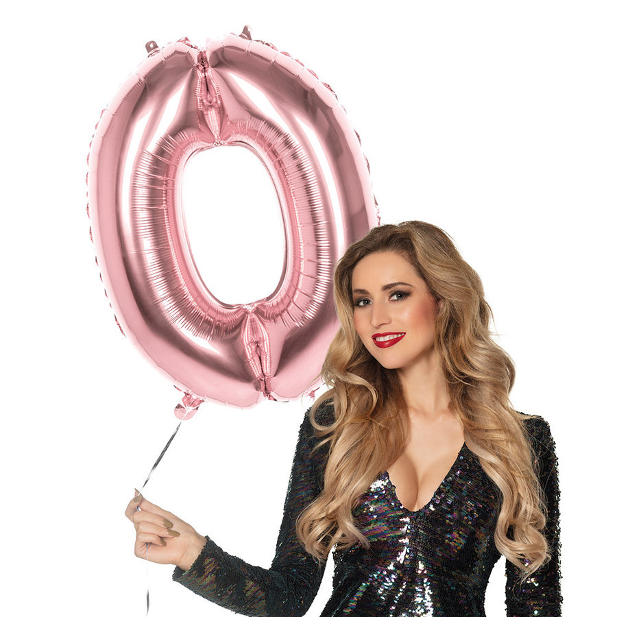Folieballon cijfer 0 ROZE voor lucht of helium MEGA