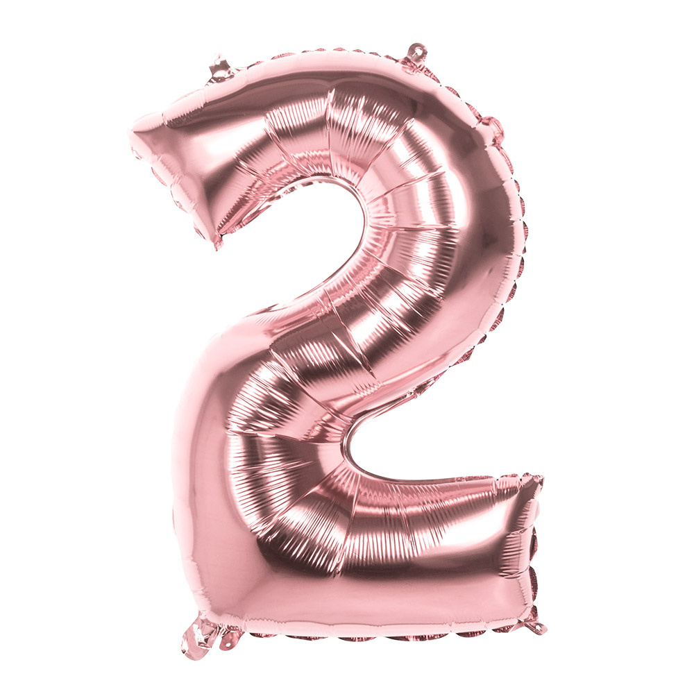 Folieballon cijfer 2 ROZE voor lucht of helium MEGA