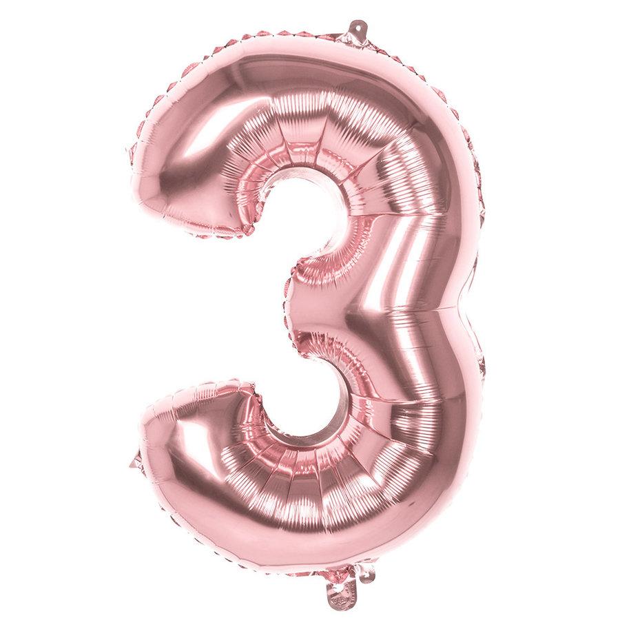 Folieballon cijfer 3 ROZE voor lucht of helium MEGA