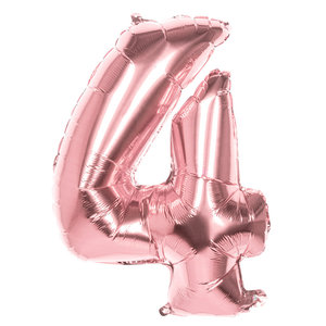 Folieballon cijfer 4 ROZE voor lucht of helium MEGA