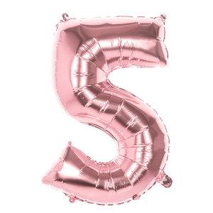 Folieballon cijfer 5 ROZE voor lucht of helium MEGA