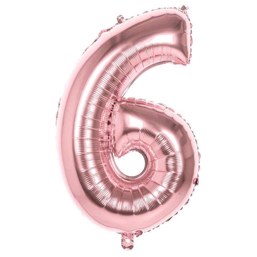 Folieballon cijfer 6 ROZE voor lucht of helium MEGA