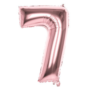 Folieballon cijfer 7 ROZE voor lucht of helium MEGA