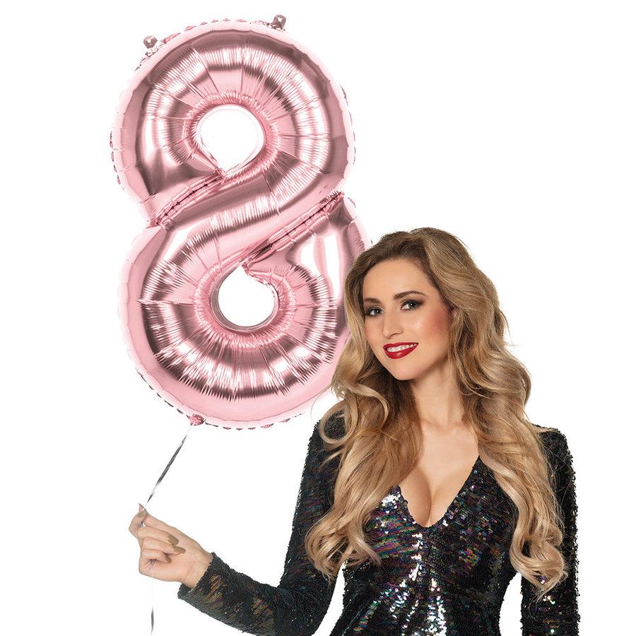 Folieballon cijfer 8 ROZE voor lucht of helium MEGA