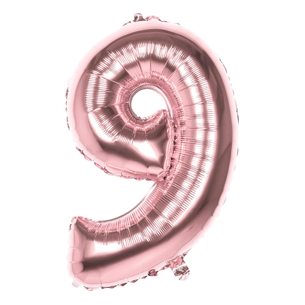 Folieballon cijfer 9 ROZE voor lucht of helium MEGA
