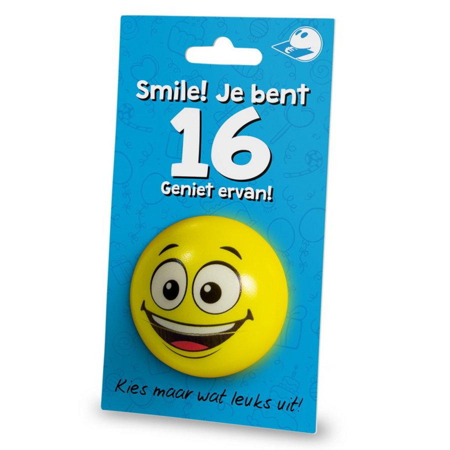 Stressbal Smile Je bent 16 Geniet ervan