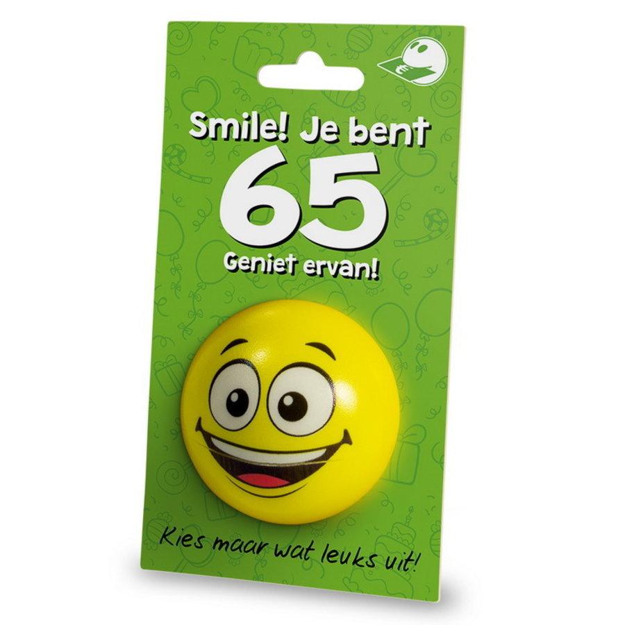 Stressbal Smile Je bent 65 Geniet ervan
