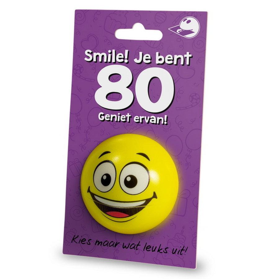 Stressbal Smile Je bent 80 Geniet ervan