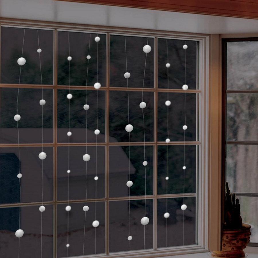Hangdecoratie sneeuwballen 12.8 meter