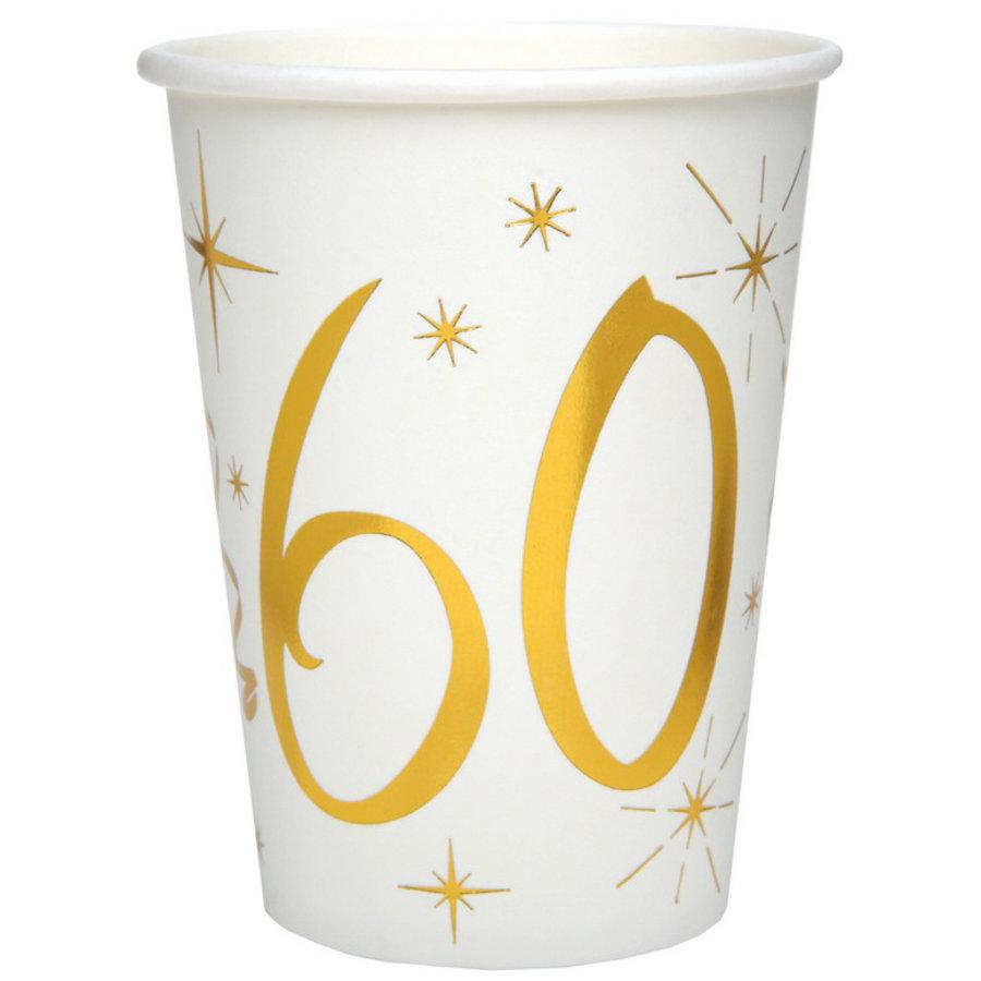 Bekertjes 60 jaar stijlvol goud wit 10 stuks
