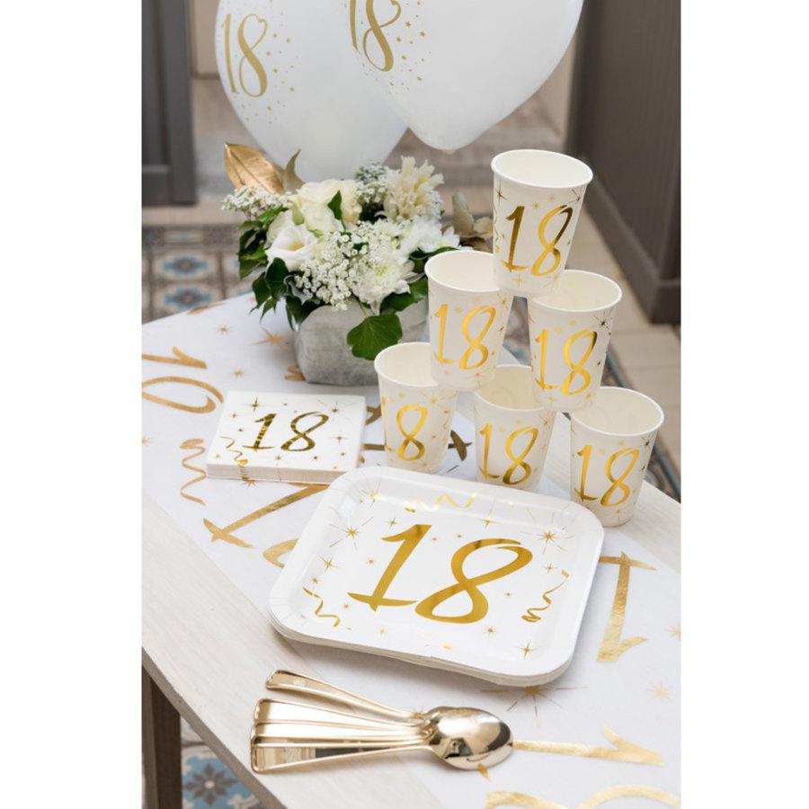 Bordjes 18 jaar stijlvol goud wit 10 stuks
