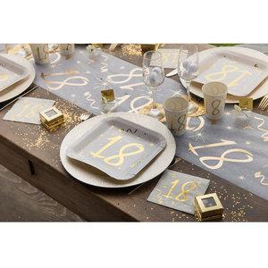 Bordjes 30 jaar stijlvol goud wit 10 stuks