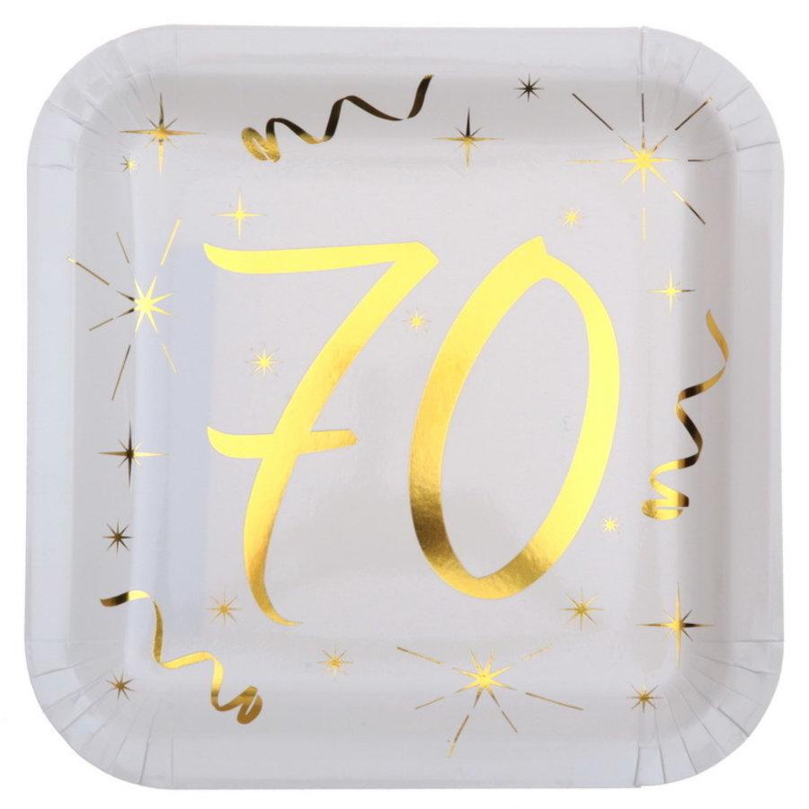 Bordjes 70 jaar stijlvol goud wit 10 stuks