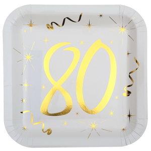 Bordjes 80 jaar stijlvol goud wit 10 stuks
