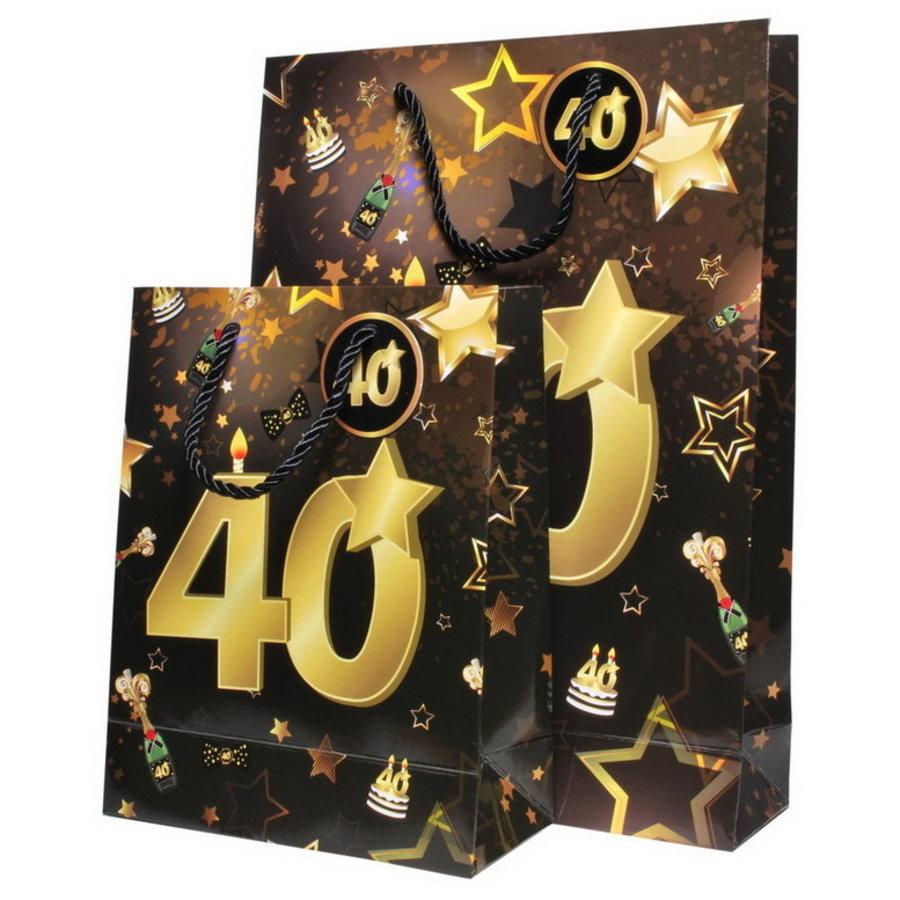 Tassenset 40 jaar goud-zwart