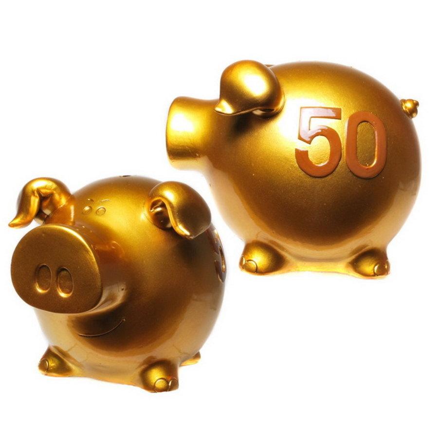 Spaarvarken 50 jaar goudkleurig
