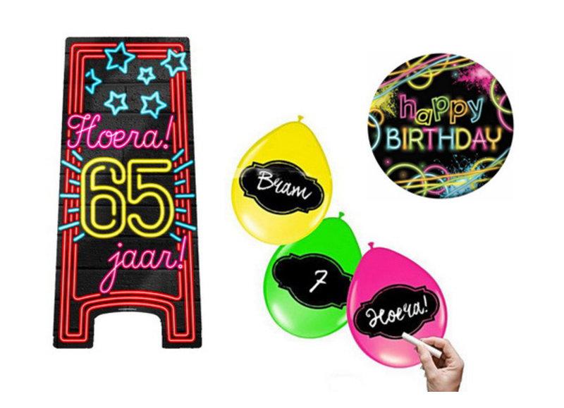 65 jaar neon party