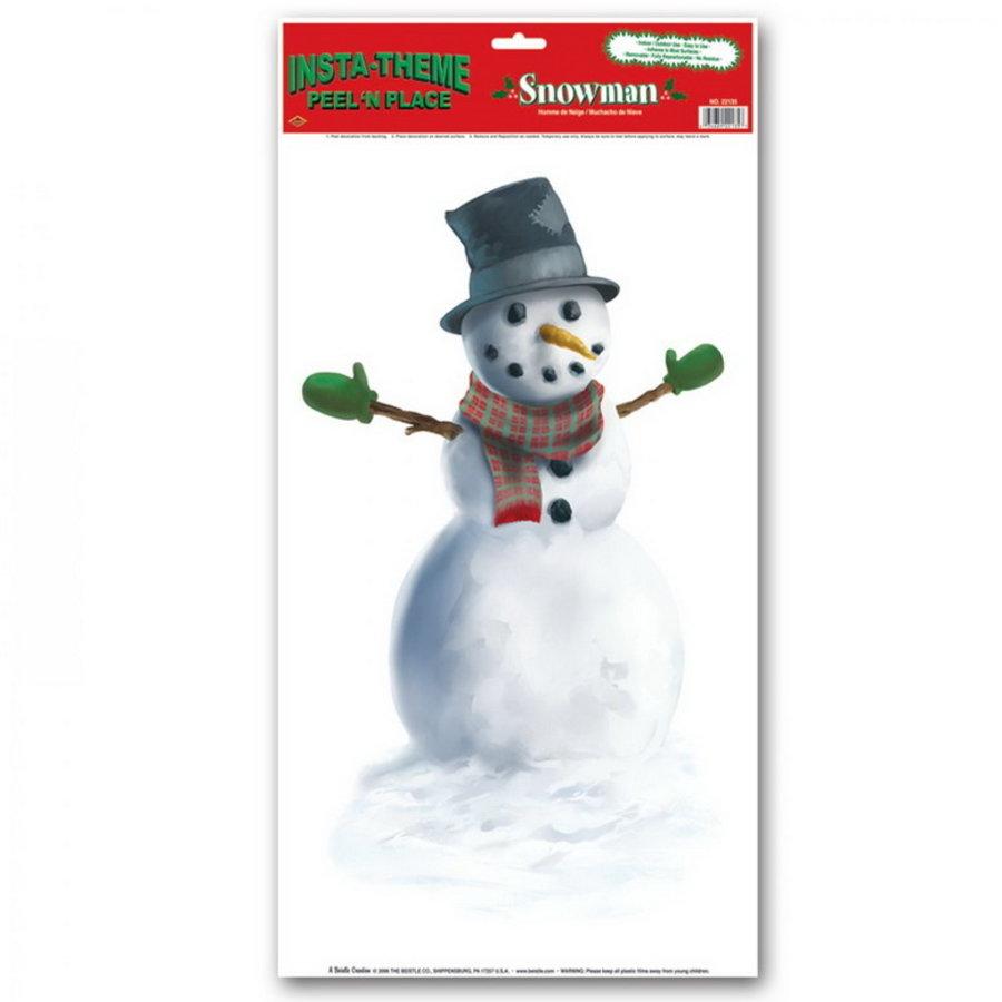 Raamdecoratie sneeuwpop groot