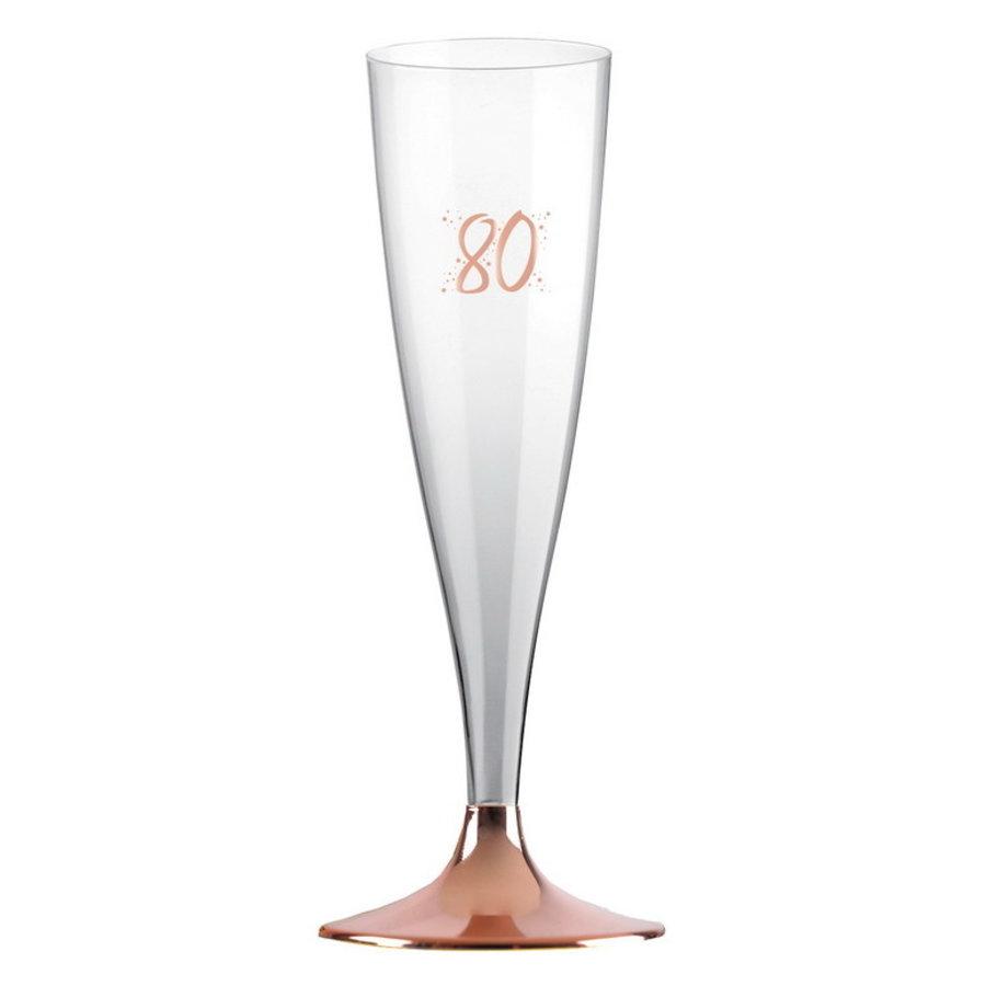 Party Proost glas 80 jaar rosé 6 stuks
